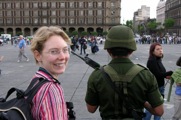 Claire and a man with a big gun, Mexico City